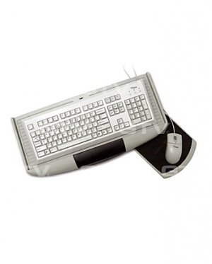 Keyboard shelf with mouse pad